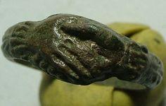 RARE Original Ancient Roman Ring Wedding Band Clasped Hands Fertility Artifact   eBay