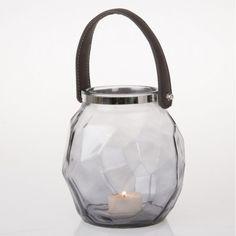 Blue Glass Tea Light Lantern