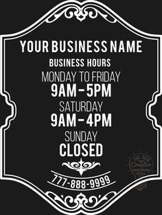 Custom Business Store Hours Vinyl Window Decal X Sticker Sign - Custom business stickers