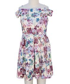 Look at this #zulilyfind! Cream & Pink Floral Off-Shoulder Dress - Girls #zulilyfinds