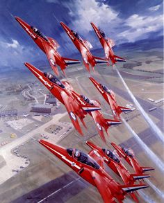 Red Arrows, by Michael Turner (Folland Gnat) Red Arrow Plane, Raf Red Arrows, Air Fighter, Fighter Jets, Folland Gnat, South African Air Force, Michael Turner, Airplane Photography, Blue Angels