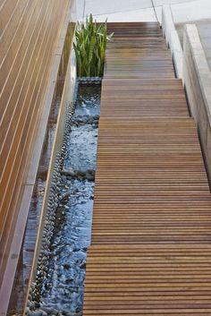 Beautiful wood, stone, water integration