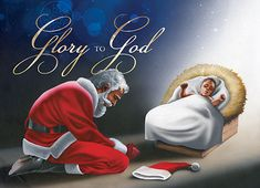 A boxed set of 15 holiday greeting cards depicting Black Santa Claus kneeling in front of a cribbed infant Jesus and giving all praise and glory! Christmas Jesus, Meaning Of Christmas, Black Christmas, Father Christmas, Christmas Pictures, Christmas Art, Christmas Greetings, Vintage Christmas, Christmas Decorations
