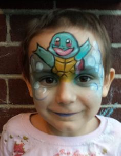 Squirtle Pokemon face paint makeup ManaArt Face and Body Painting