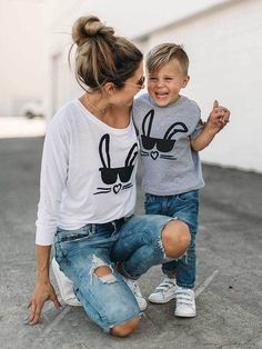 Mommy and Me Round Neck Animal Pattern Matching T-shirts