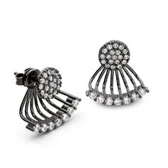 A disc of black rhodium plated silver with a surface of pave set Cubic zirconia, leading to a fan of sparkling CZ stones, on a narrow bar of Silver. Cut Above The Rest, Cz Stones, Black Rhodium, Silver Plate, Silver Earrings, Cufflinks, Surface, Sparkle, Fan