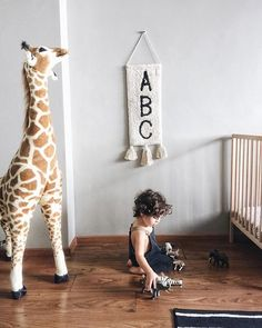 """Easy as ABC! Our ABC wall hanging is fun and classic loved by mamas & and kiddos alike. """"Its September! Max is turning 2 this month . Next thing I know hes gonna be packing up for college"""" Abc Wall, Lorena Canals Rugs, Wall Decor, Room Decor, Gender Neutral, Lana, Giraffe, Kids Room, Classic"""