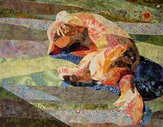 Sleeping Dog on the Porch - Quilt Fabric Art by ccollier