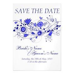 Whimsical Navy Blue Wedding Save The Date Magnet #WhimsicalNavyBlueWeddingSeries