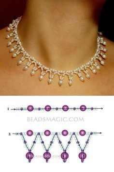 Free pattern for necklace Tenderness seed beads 11/0 pearl beads 4 mm pearl beads 6 mm