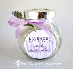 Lavender Flowers Custom Round Label. Labels can be used on favors, envelopes, goodie bags and other decor details included in a rustic, lavender-themed wedding or bridal shower.  More label ideas: http://www.winecountryoccasions.com/Customized-Labels-s/58.htm - Wine Country Occasions, www.winecountryoccasions.com