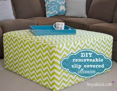 Full step by step tutorial to show you how to recover an old ottoman with a slip cover that can be easily removed for washing. This is a must with kids. @tinysidekick