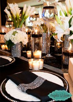10 Wedding Bling Ideas That Are SO Major: If a sparkling centerpiece isn't enough bling, try a metallic charger or rhinestone encrusted napkin holder. Little details go a long way and add a major dose of glam.