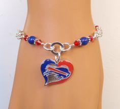 Buffalo Bills Bracelet, Bills Bling, Blue Pearl, Red Crystal Adjustable Bracelet, Pro Football Bills Jewelry Accessory Fanwear by scbeachbling on Etsy