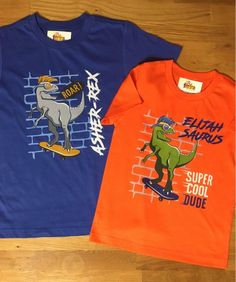 d71c2efd Set of 2_Dinosaur shirt, T-Rex birthday shirt, Dinosaur Shirt, skateboard,  dinosaur party, blue shir