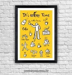 "Poster ""Coffee Time"" Fundo Amarelo"