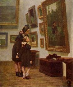 Дмитрий Иванович Пускин (1919-1998) : Аленушка/Alionushka, 1956. [ looking at Victor Mikhallovich Vasnetsov (Russian, 1848-1926) painting, Alyonushka of 1881 in Tretyakov Gallery, Moscow.]