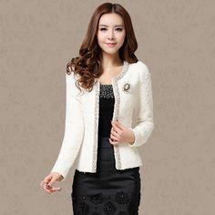 New Nice Autumn Spring Coat Short Design Women Outerwear Elegant Beaded Diamond Slim Long Sleeve Plus Size Small Jacket XXXL. Yesterday's price: US $39.85 (32.75 EUR). Today's price: US $31.08 (25.74 EUR). Discount: 22%.