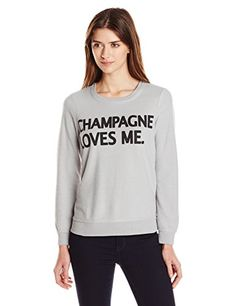 Chaser Womens Champagne Loves Me Graphic Sweatshirt