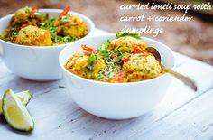 Curried Lentil Soup with Carrot + Coriander Dumplings (Gluten Free + Vegan) | GoodnessGreen