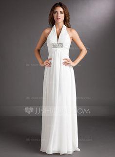 Wedding Dresses - $126.99 - A-Line/Princess Halter Court Train Chiffon Wedding Dress With Ruffle Beading (002011438) http://jjshouse.com/A-Line-Princess-Halter-Court-Train-Chiffon-Wedding-Dress-With-Ruffle-Beading-002011438-g11438?ves=wgc4sk&ver=hd8yk