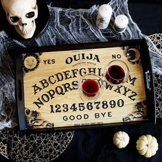 DIY Ouija board serving tray on the blog! The more wine you drink the more it talks to you!