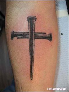 Cross Tattoos made by the 3 nails. Future Tattoos, New Tattoos, Body Art Tattoos, Tattoos For Guys, Cool Tattoos, Piercing Tattoo, Nail Tattoo, Ear Piercings, Celtic Cross Tattoos