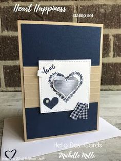 Michelle Mills - Ind Stampin' Up! Demonstrator Australia. FB: Hello Day Cards. Simple Valentines Card made with Heart Happiness Stamp Set, Sweet & Sassy Dies, Stitched Shapes FRamelits Dies & the Simple Stripes Embossing Folder. All items are Stampin' Up!® #eatsleepstamprepeat #gogetstamped #stampinup #stamping #makeacardsendacard #loveitchopit #worldhelloday #hellodaycards #hello #valentines #love #heart #happiness #soft #iloveyou #romantic #stripes