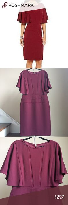 """SALE Alex Marie Dress Gorgeous ruffle dress from Alex Marie. Features round neckline, attached elbow length flutter cape inserts on bodice and waist, concealed back zipper with hook-and-eye closure, lined. Color Black Cherry. Shell 100% Polyester. Approx.measurements: bust 39"""", waist 32"""", hips 43"""", length 40"""".  Price firm unless bundled!  Alex Marie Dresses"""
