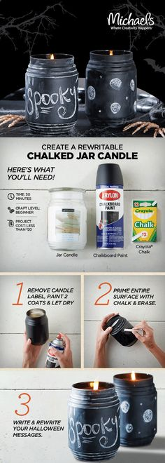DIY Chalked Jar Candle - turn a simple jar candle into a fun cute Halloween decoration for your home in just 3 easy steps. After spraying on a coat of chalkboard paint, write a themed message of choice with some chalk! Halloween Home Decor, Cute Halloween, Holidays Halloween, Halloween Crafts, Holiday Crafts, Halloween Decorations, Halloween Candles, Halloween Ideas, Baby Food Jar Crafts