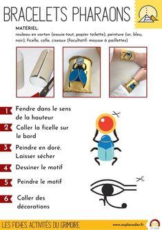 Téléchargez la fiche activité manuelle pour fabriquer des bracelets de pharaons avec les enfants. #egypte Ancient Egypt Crafts, Egyptian Crafts, Egyptian Party, Cartoon Network Adventure Time, Adventure Time Anime, Diy For Kids, Crafts For Kids, Egypt Art, Kids Prints