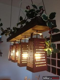 upcycled graters into light fixtures. Pretty and functional!