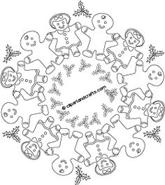 sweet treat line art whimsical christmas mandala coloring page of gingerbread cookies