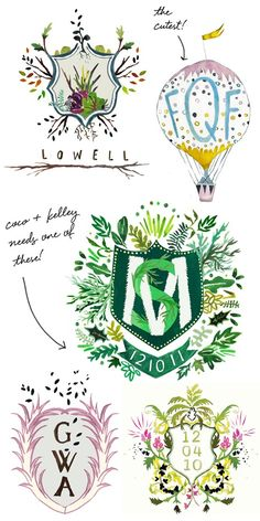 I'm completely in love with these illustrated monograms from Happy Menocal… or as they call them 'custom heraldry'.