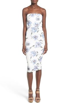 Missguided Floral Print Strapless Sheath Dress available at #Nordstrom