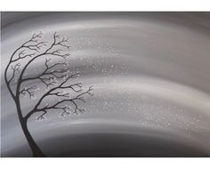 Silhouette Tree Winter Sky  Acrylic Painting  by deejavuart, £35.00