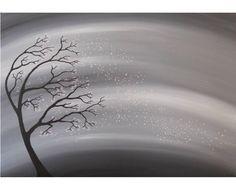 Silhouette Tree Winter Sky  Acrylic Painting  by deejavuart, £35.00
