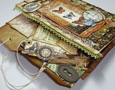 """Mini Album Olde Curiosity Shoppe:  Shown page-by-page on her board """"Made By Me"""""""