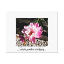 Pink Flower Irish Blessings On White Stretched Canvas Prints