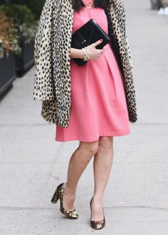 pink dress + leopard coat + sequin shoes.