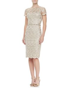 Short-Sleeve Lace Beaded Cocktail Dress by David Meister at Neiman Marcus.
