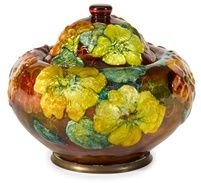 Camille Fauré enameled metal vase~Circa 1925