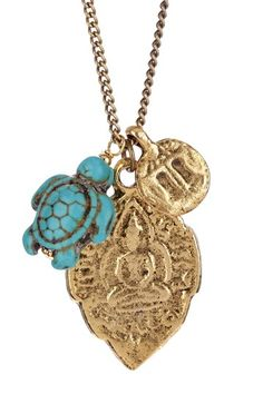 Buddha & Turquoise Turtle Charm Necklace by Gold Rush. on @HauteLook