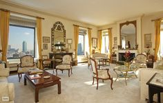 Living room in a 3 bedroom, 3 bath co-op for sale at Sutton Place South, Midtown East, New York City - $7,500,000.
