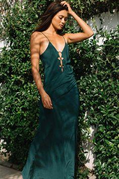Acacia Swimwear: Brawa maxi dress in seaweed | Soleil Blue
