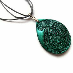 Paisley necklace polymer clay jewelry in teal by MoonsafariBeads