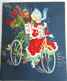 Vintage Christmas and New Year Card - Greeting Card  - Festive Couple - Signed -  1940s 1950s 1960s - Riding Tandem Bike Mr and Mrs