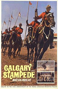 Calgary Stampede poster 1973 - RCMP Musical Ride at the major event.