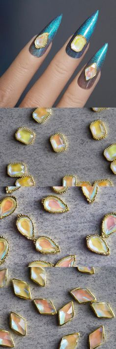 5pcs 3D Zircon Polar Light Crystal Nail Emerald Diamond/ Ocean Geometrical Gold Framed Rhinestone Nail deco/ Handmade DIY crafts supply Diamond Nails, Emerald Diamond, Crystal Nails, Nail Supply, Rhinestone Nails, Nail Decals, Craft Supplies, Diy Crafts, Crystals