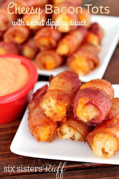 Cheesy Bacon Tots With Secret Dipping Sauce on SixSistersStuff.com